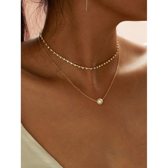 GOLD | Faux Pearl Pendant Rhinestone Choker Necklace | 2 Pcs - IG Studio