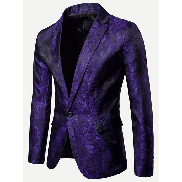 Floral Impressed Jacquard Single Button Blazer - Royal Purple