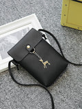 Metal Deer Accent Crossbody Bag - Black