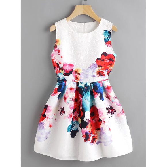 Watercolor Floral Embossed Mini Cocktail Dress