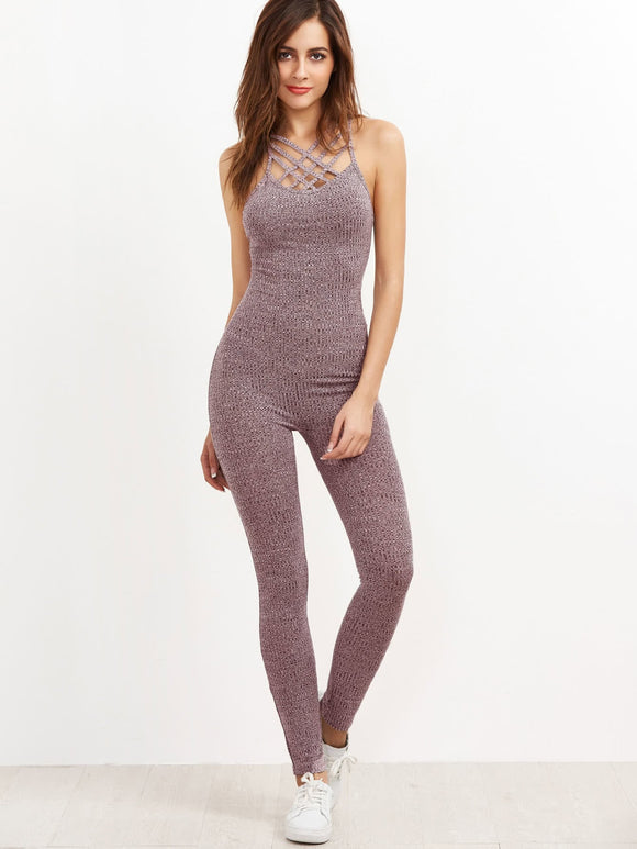 Ribbed Knit Shaping Athleisure Jumpsuit - Mauve