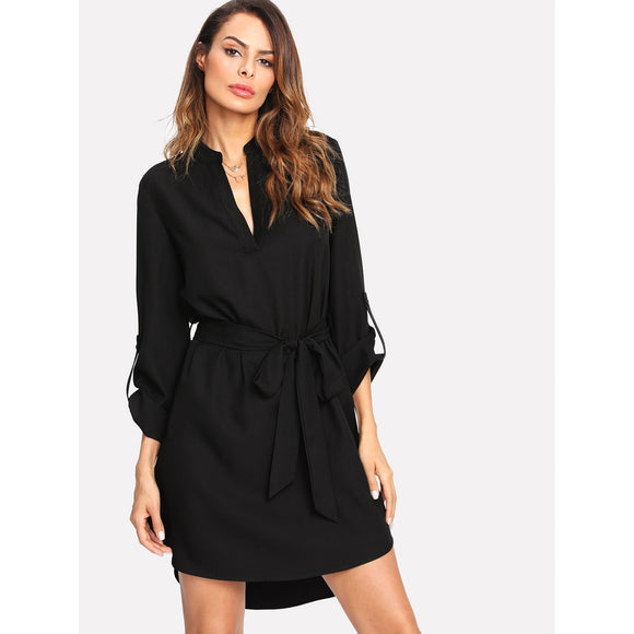 V-Neck Belted Black Mini Cocktail Dress