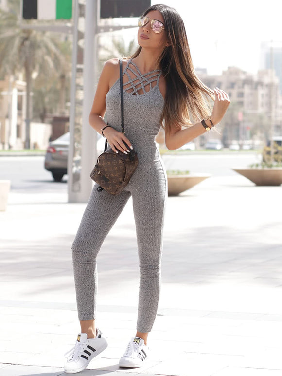 Ribbed Knit Shaping Athleisure Jumpsuit - Grey