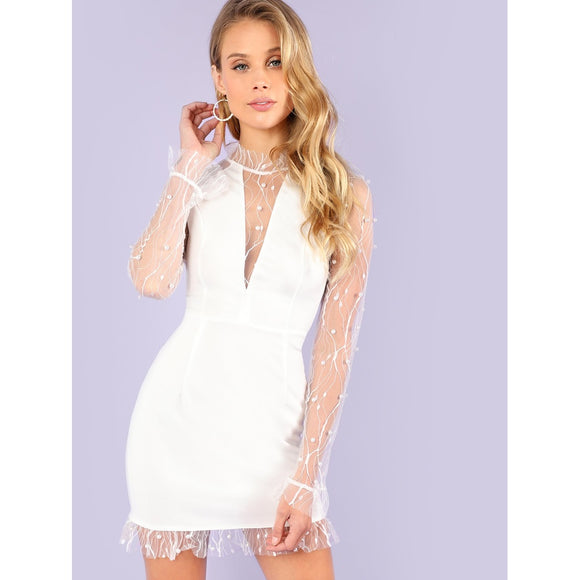 White Pearl Beading Sheer Vine Cocktail Dress