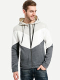 Chevron Panel Zip Up College Hoodie