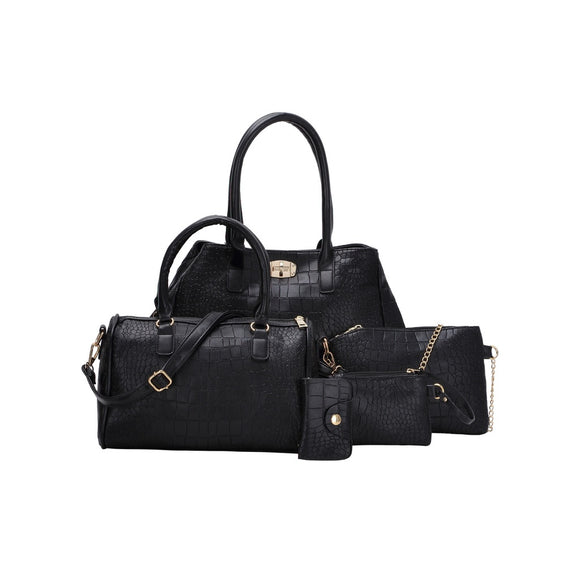 5 Pc. Faux Crocodile Embossed Leather Bags Set - IG Studio