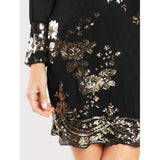 Sheer Wrapped Bodice Mini Cocktail Dress