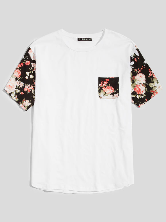 Floral Printed Sleeve and Pocket Casual Tee
