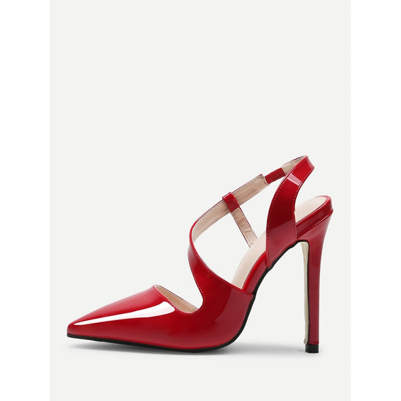 Oblique Strap Red Leather Heels