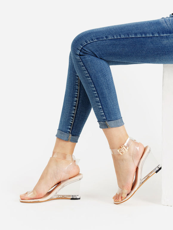 Metal Buckle Clear Wedge Sandals