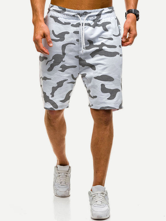 Athletic Light Camo Drawstring Shorts