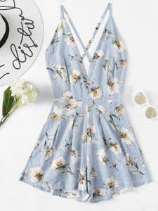 Cross Back Sexy Halter Floral Romper