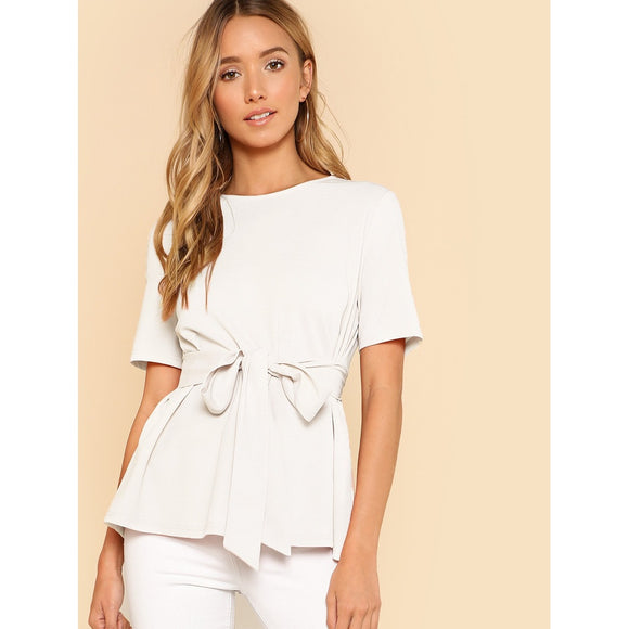 Self-Tie Keyhole Back Classic White Blouse