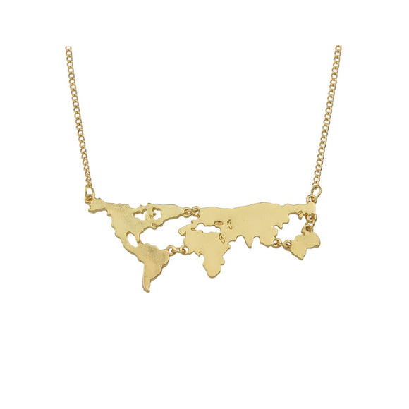 Gold Map Design Pendant Necklace - IG Studio