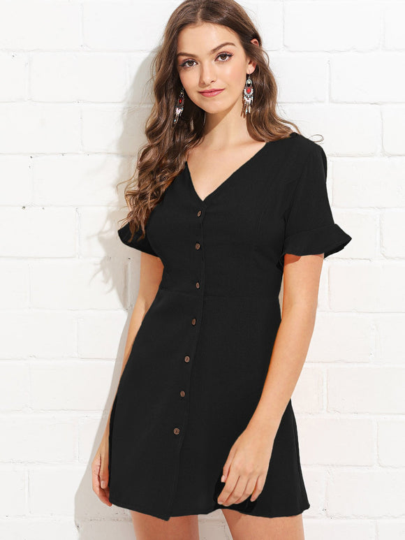 Ruffle Cuff Button-Up Dress - Black