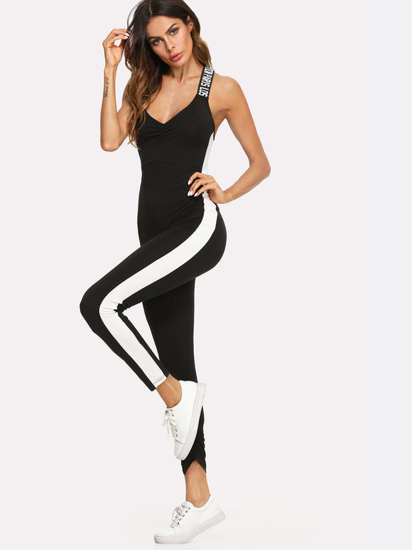 Cross Strap Colorblock Athleisure Jumpsuit - Black