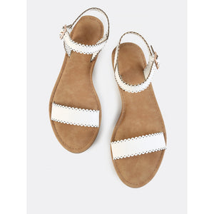 White Scalloped Trim Band Sandals