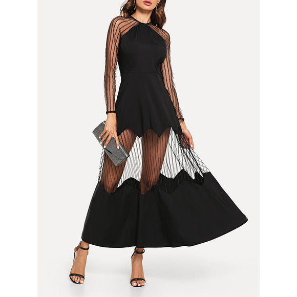 Sheer Insert Zip Back Sexy Evening Dress