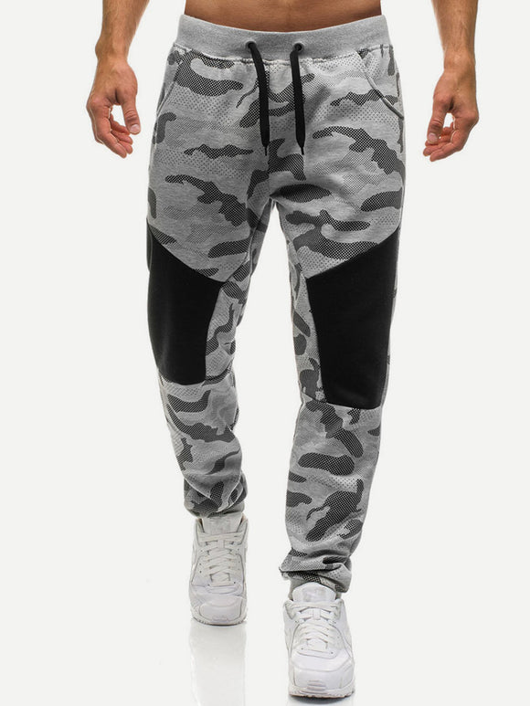Patched Knee Camo Drawstring Pants