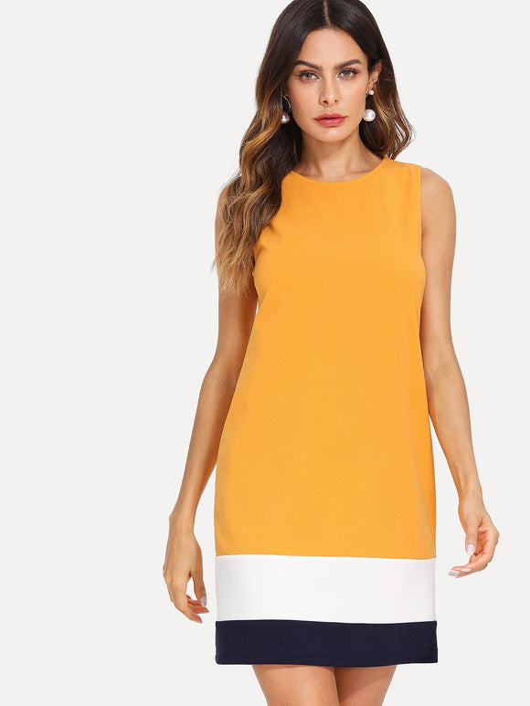Colorblock Sheath Cocktail Dress - Ginger