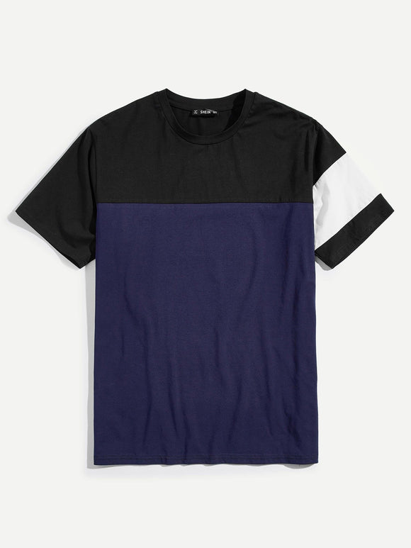 Black & Blue Colorblock Mixed Casual Tee