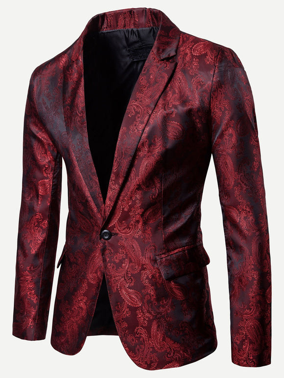 Floral Impressed Jacquard Single Button Blazer - Burgundy