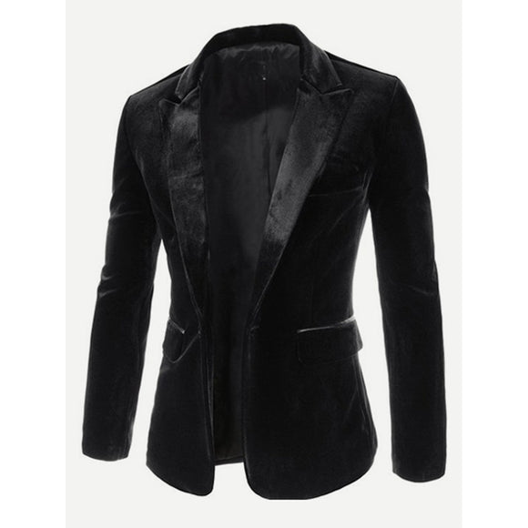 Single Button Black Velvet Blazer
