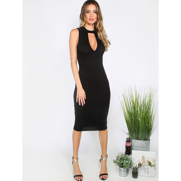 Cut-out Choker Neck Noir Skinny Cocktail Dress - IG Studio