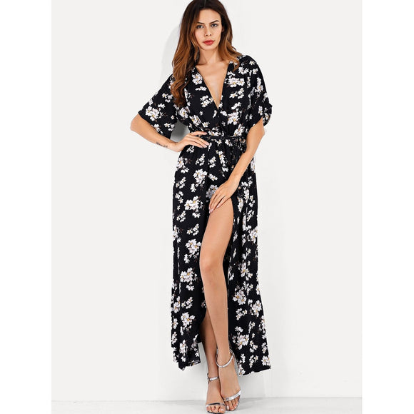 Black & White High-Slit Floral Evening Dress - IG Studio