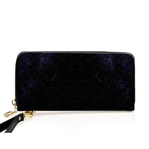 """Cosmic Black"" Long Faux Leather Purse - IG Studio"