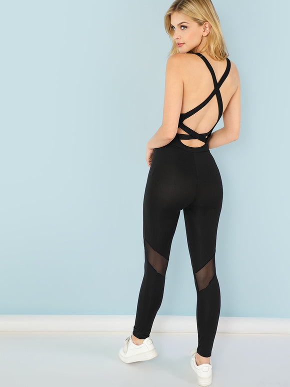 Strapped Backless Skinny Athleisure Jumpsuit - Black