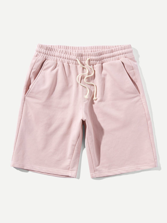 Pink Cotton Straight Leg Shorts