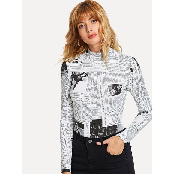 Newspaper Print Mock Turtleneck Top