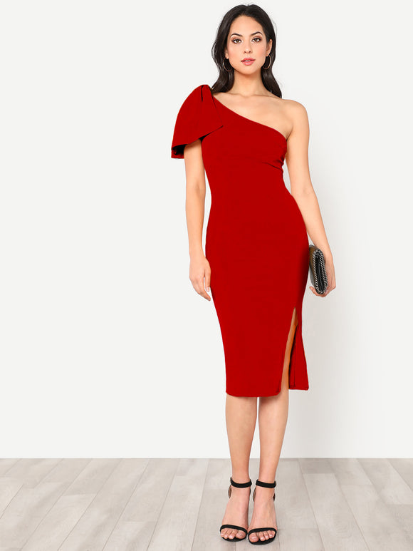 One Shoulder Pencil Sheath Dress - Wine