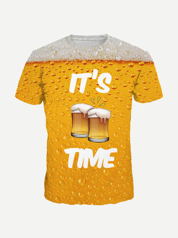 IT'S BEER TIME | Full Graphic Print Tee