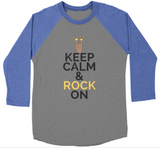 """Keep Calm and Rock On"" Baseball T-Shirt - IG Studio"