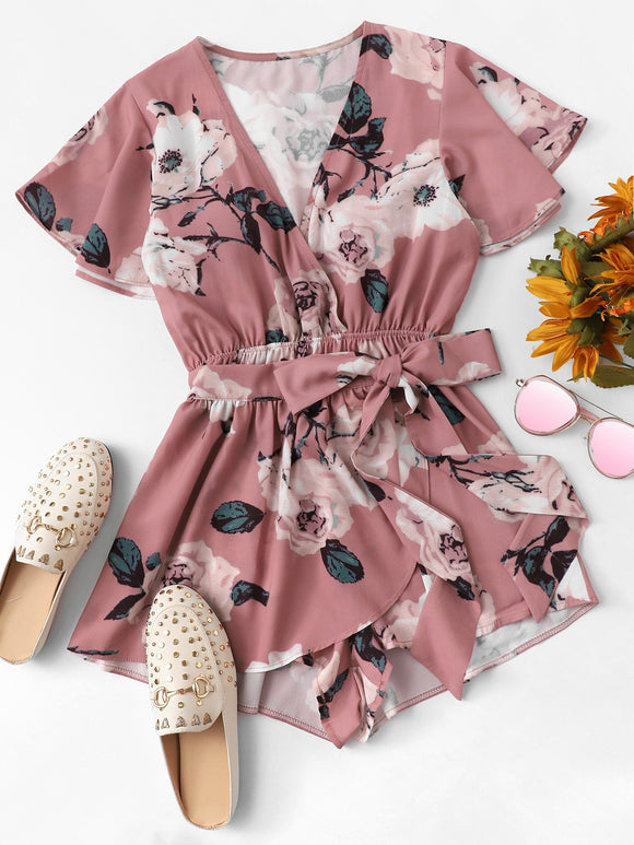 Flounce Sleeve Floral Wrap Romper