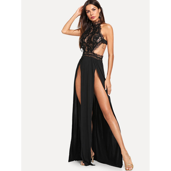 Lace Bodice M-Slit Evening Dress - IG Studio