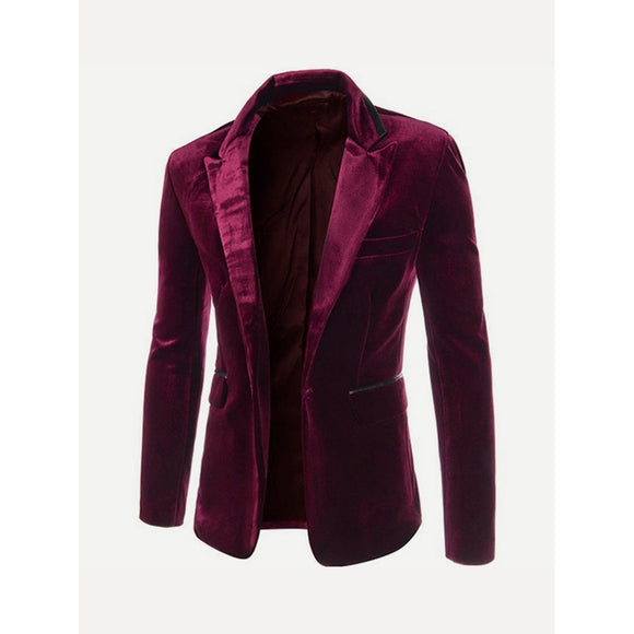 Single Button Burgundy  Velvet Blazer