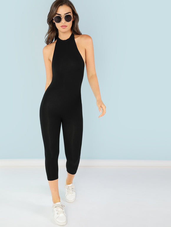 Slim Halter Cut Athleisure Jumpsuit - Black