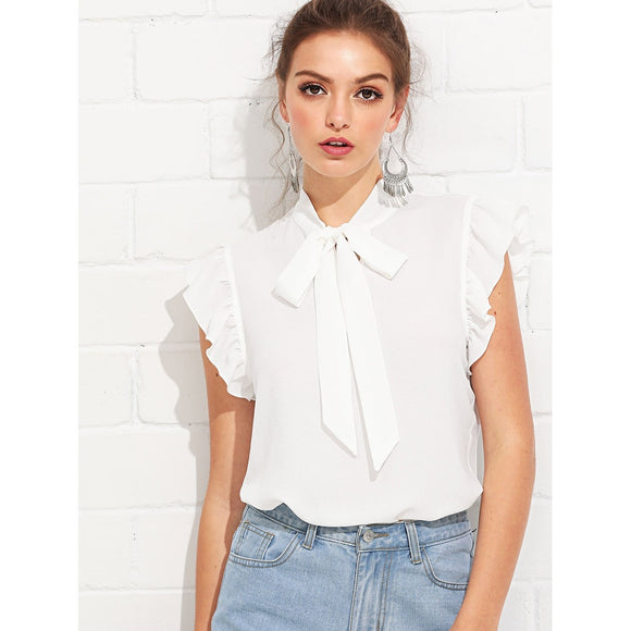 Neck Tie White Chiffon Blouse