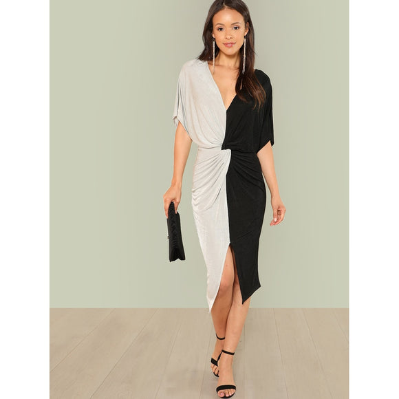Black & White Twist Formal Cocktail Dress - IG Studio
