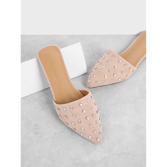 Pink Rhinestone Decorated Mule Flats