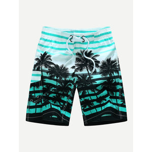 Blue Stripe & Tropical Print Board Shorts - IG Studio