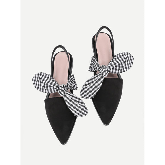 Gingham Bow-Tie Pointed Toe Flats - IG Studio
