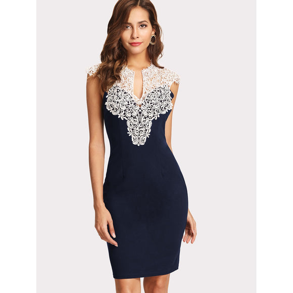 Navy Floral Lace Yoke Skinny Cocktail Dress