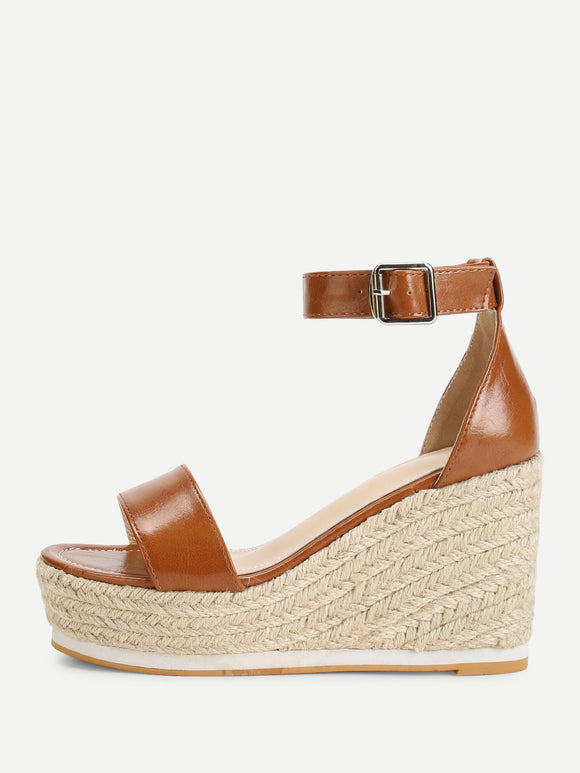 Ankle Leather Strap Espadrille Wedges