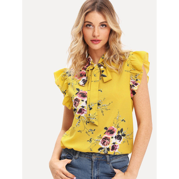 Neck Tie + Floral Bright Daisy Chiffon Blouse