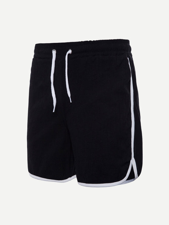 Split Hem Drawstring Athletic Shorts - Black