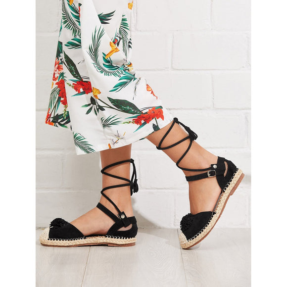 Black Lace-Up Espadrille Gladiator Sandals - IG Studio
